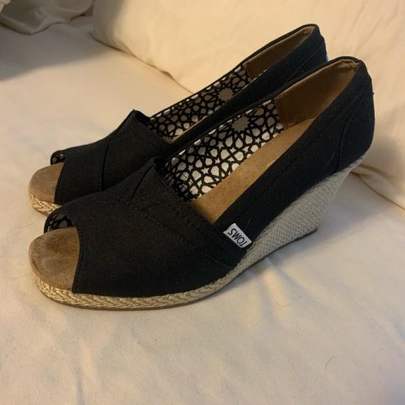 Toms Shoes | Classic Wedges Black Peep